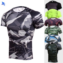 Camouflage Breathable Quick Dry Men Running Shirt Short Sleeve Gym Fitness T Shirt Rashgard Compression Tops Sportswear Clothing