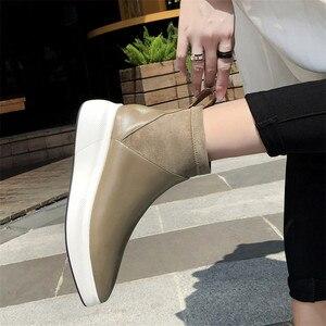 Image 5 - FEDONAS yeni Retro kadınlar hakiki deri yarım çizmeler platformları konfor rahat çorap çizmeler kadın 2021 ayakkabı kadın ofis pompaları