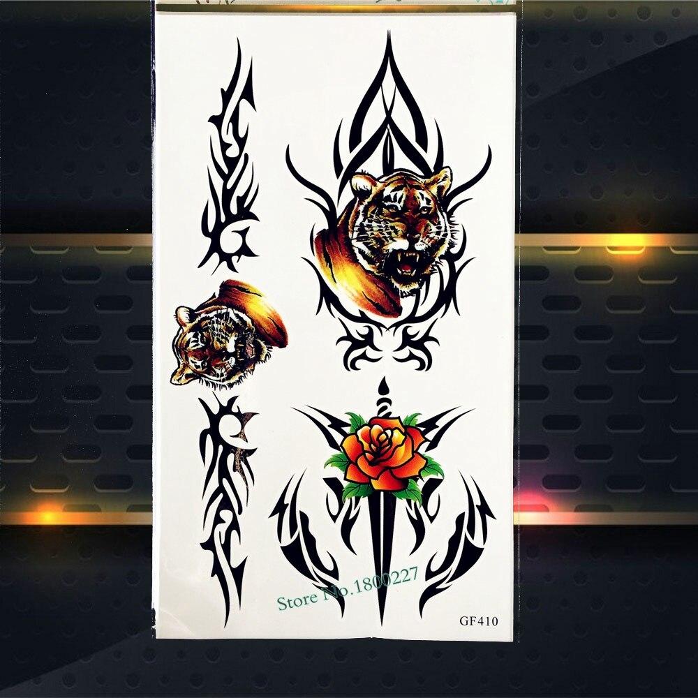 Cool 3D Tiger Temporary Tattoo Men Body Arm Chest Tattoo Choker Neck Sticker PGF410 Fake Tattoo Flash Sexy Tattoo Totem Stickers
