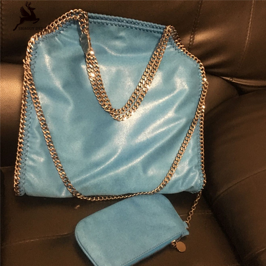 Sea Blue Shaggy Deer Brand Luxury Quality Heavy Chain Falabellas Fold-Over Classical PVC Large Capacity Shopping Tote mini gray shaggy deer pvc quilted chain bag with cover real picture