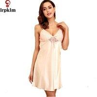 2017 Satin Nightwear Womens Nightdress Summer Night Dress Women Faux Silk Sleepwear Nightgown Nighties For Women