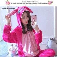 Halloween Kigurumi Onesie Cosplay Winter Wholesale Animal red Stitch Adult Unisex Hooded Sleepwear pajamas jumpsuit Pyjama