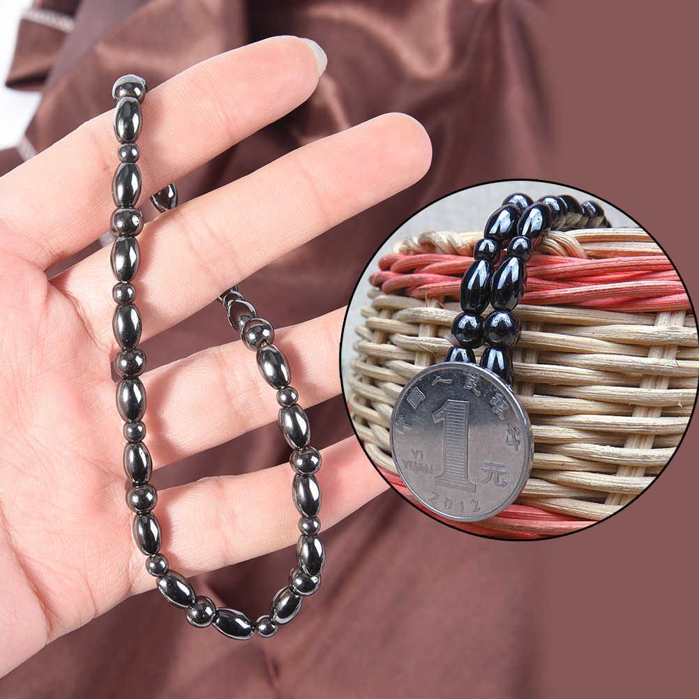 Vintage Black Magnetic Therapy สร้อยข้อมือลูกปัดห่วงโซ่ลดน้ำหนักข้อเท้าสร้อยข้อมือสำหรับผู้หญิงผู้ชาย Sliming