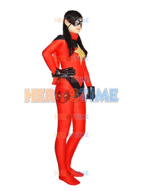 Cosplay Comics Ms.  Red Spandex Superhero Costume Red Black Spandex TIght zentai suit Female Halloween Superhero Costume