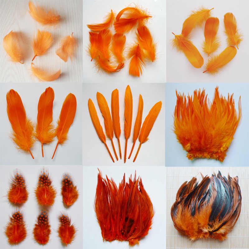 20pcs 11 종류의 오렌지 컬러 꿩 꼬리 치킨 깃털 거위 수탉 plumas 파티 diy 공예 장식 타조 깃털