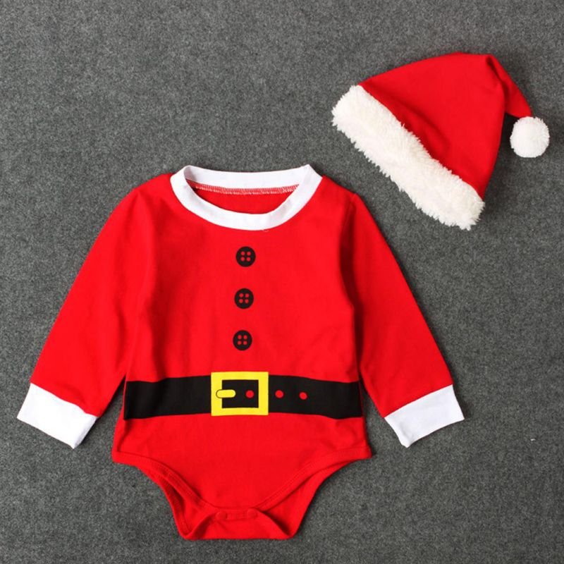 Baby Christmas Rompers Santa Cosplay jumpsuit Hats Newborn Baby Girl Boy Christmas Dinner Clothes Wear baby rompers with hat spring and autunm boy clothes for newborn girl jumpsuit baby clothes christmas costumes for boys