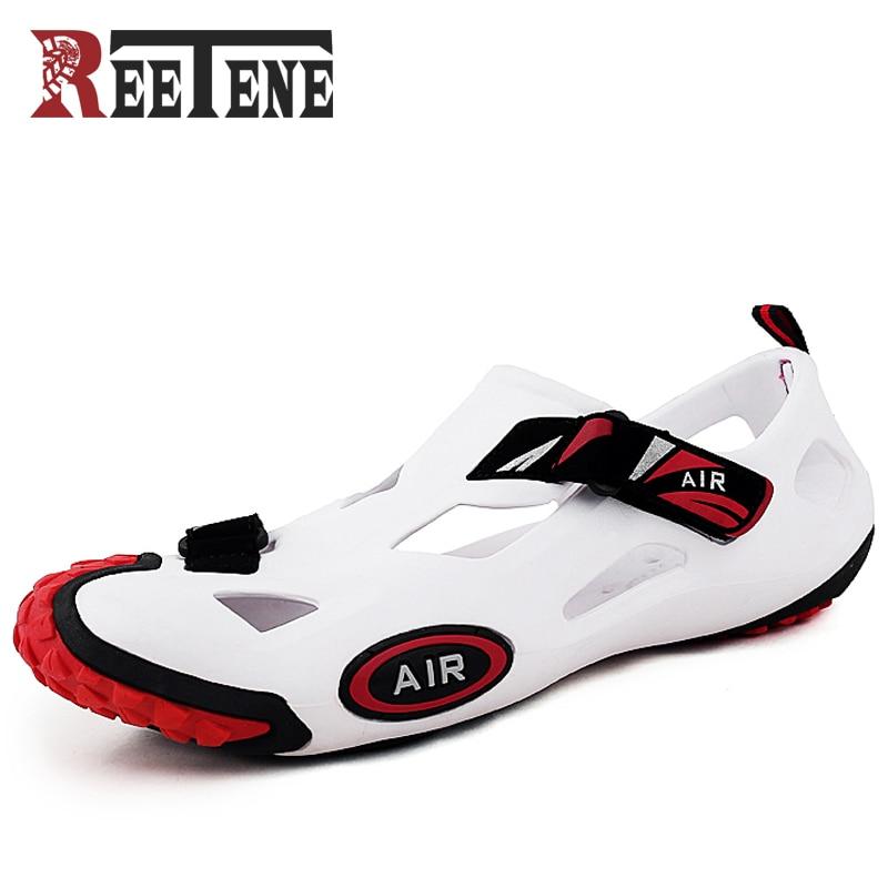 REETENE Beach Sandals For Men Outdoor Hole Shoes Anti-Kick Baotou Sandals Sports Sandals Comfortable Breathable Summer Men Shoes