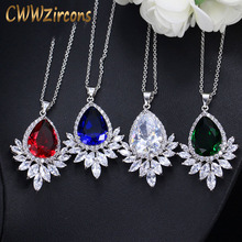 CWWZircons High Quality Big Water Drop Green Blue Cubic Zirconia Stone Necklaces Pendants For Women Fashion Jewelry Gift CP004 cwwzircons long water drop cubic zirconia stone big vintage royal wedding necklace and earring jewelry set for brides t205