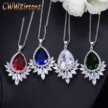 91186905f988 CWWZircons de alta calidad gran gota de agua verde azul cúbicos Zirconia  piedra collares colgantes para las mujeres moda joyería.