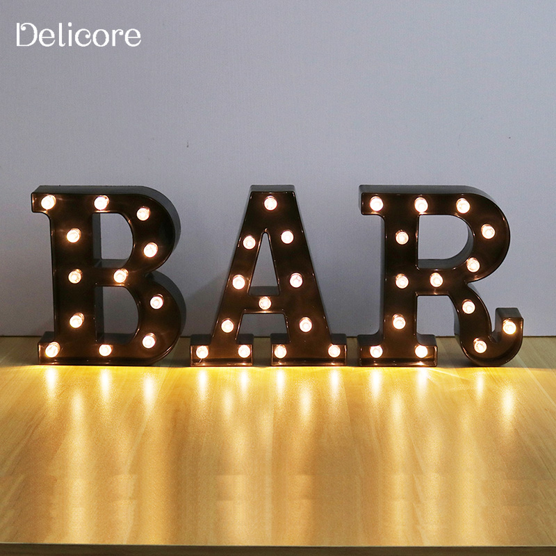 DELICORE New LED Night Light Lamp Kids Marquee Black Letter BAR Light Vintage Style Light Up Christmas Lamp Decor S025-B-BAR metal bar led marquee sign light up vintage signs light bar indoor deration