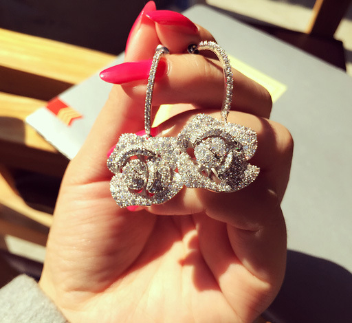 High Quality Alloy CZ Diamond Earrings Accessories Creative Rose Lady Fashion bride earrings earrings