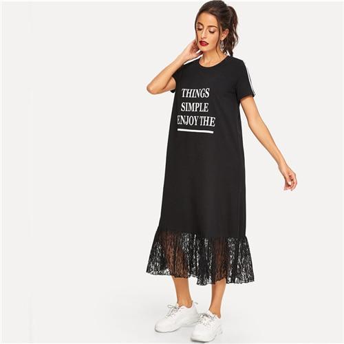 Slogan Print Striped Sleeve Lace Hem Tee Dress Women Scoop Neck H Dress Short Sleeve Black Dress
