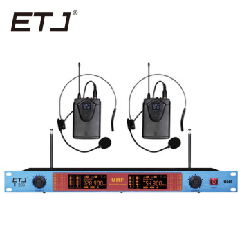 Free shipping ETJ U-203 Wireless Microphone with Screen 50M Distance 2 Channel Handheld Mic System Karaoke Wireless Microphone
