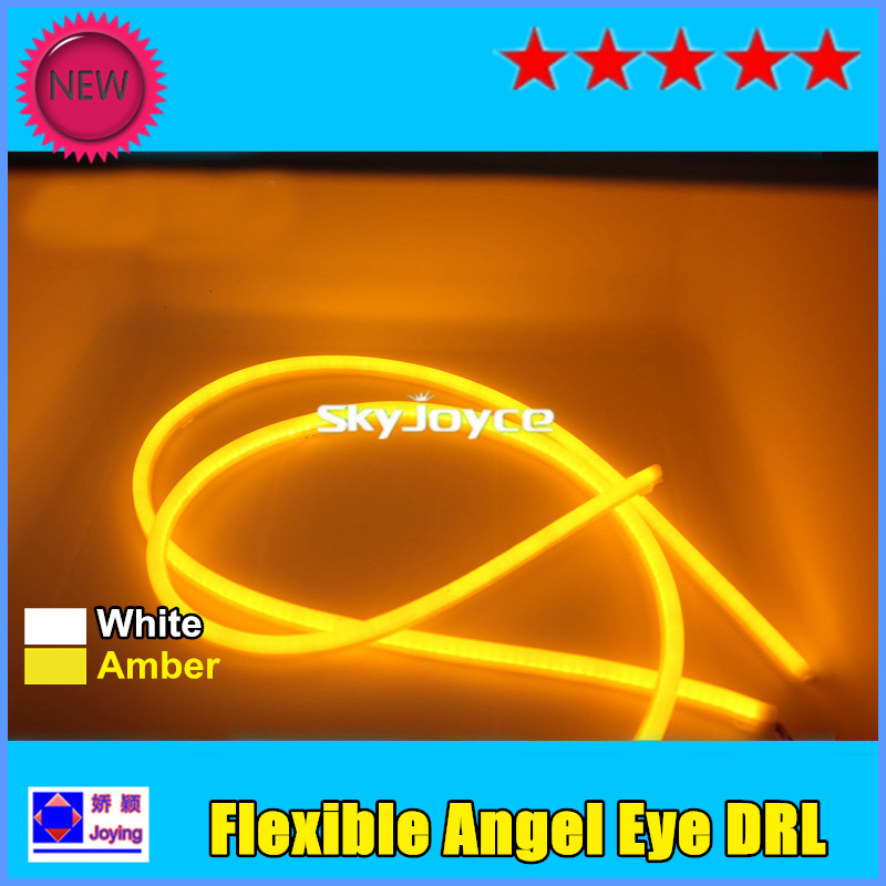 2016 10X90CM white + Amber auto flexible led strip light switchback angel eyes drl car turning signals daytime running lamp