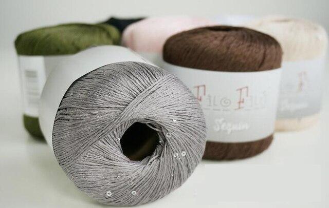 4ba4eebb92ae 50g pc Mercerized Cotton Yarn With Sequin Baby Adult Breathe Freely ...