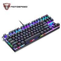 Original Motospeed CK101 Wired Mechanical Keyboard Metal 87 Keys RGB Blue Red Switch Game LED Backlit