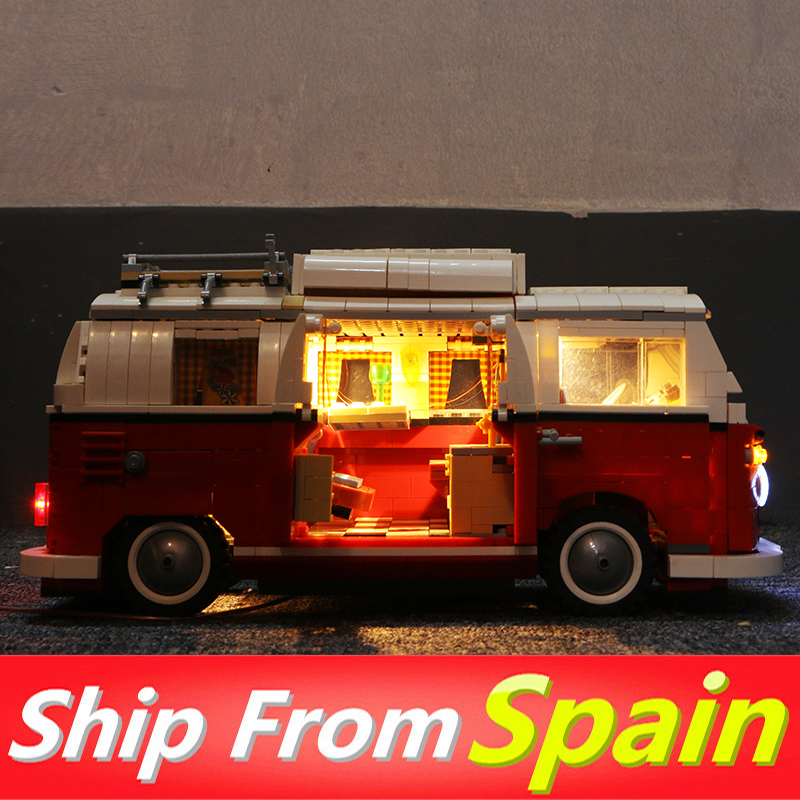 21001 1354pcs T1 Van Camper Buidling Blocks Compatible with 10220 with LED Light Technic Car Toys