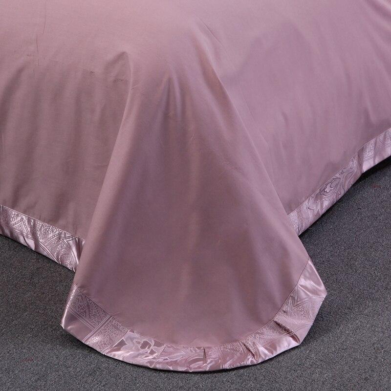 Pale Mauve European Style Jacquard Bedding Silk Cotton Blend Queen King Size 4pcs Duvet Cover Flat Sheet Pillow Case in Bedding Sets from Home Garden