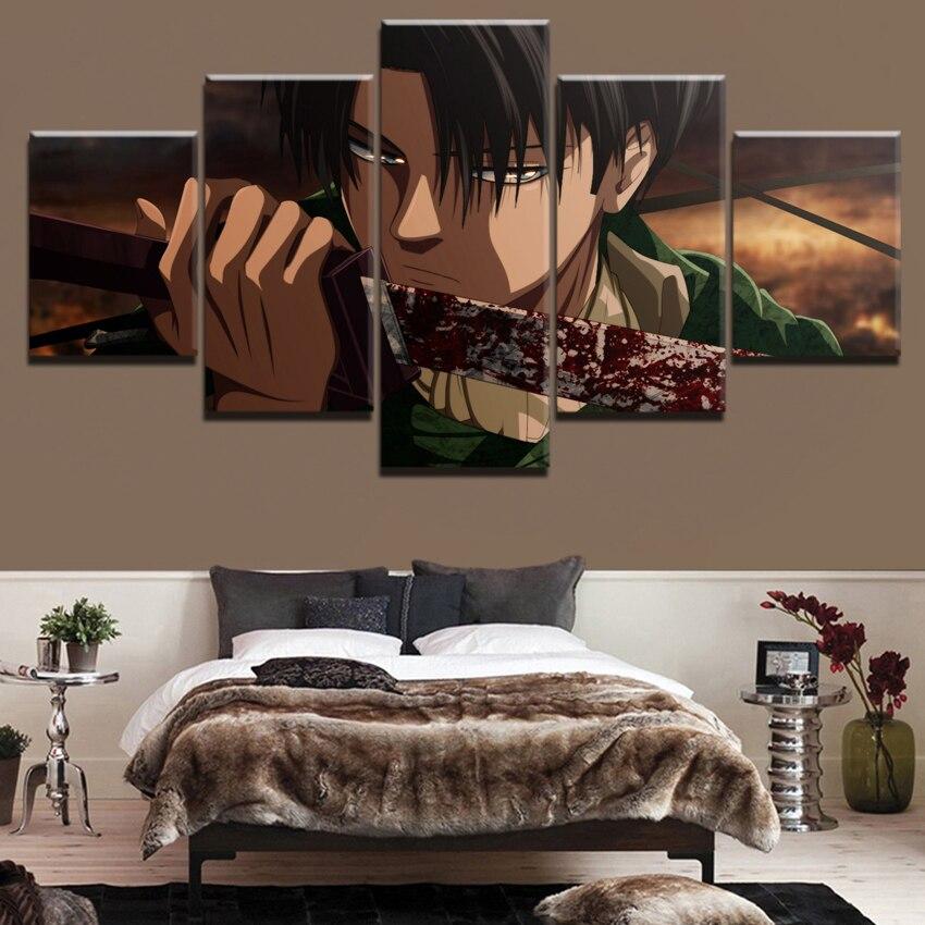 Toile mur Art imprimer Anime peinture cadre moderne image 5 panneaux attaque sur Titan sang Levi Ackerman épée affiche décor à la maison