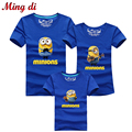 Ming Di Father Mother Baby Shorts Sleeve T shirts Fashion Cartoon Minions Family Matching Outfits 95%Cotton Children Clothing
