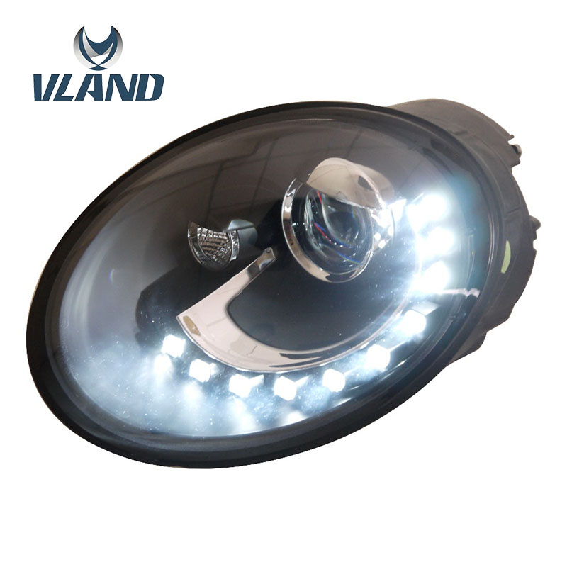 VLAND Factory For Car Headlamp For Beetle 1998 2005 LED Head Light For Beetle With H7 Bi Xenon HID Lens Headlight+Waterproof