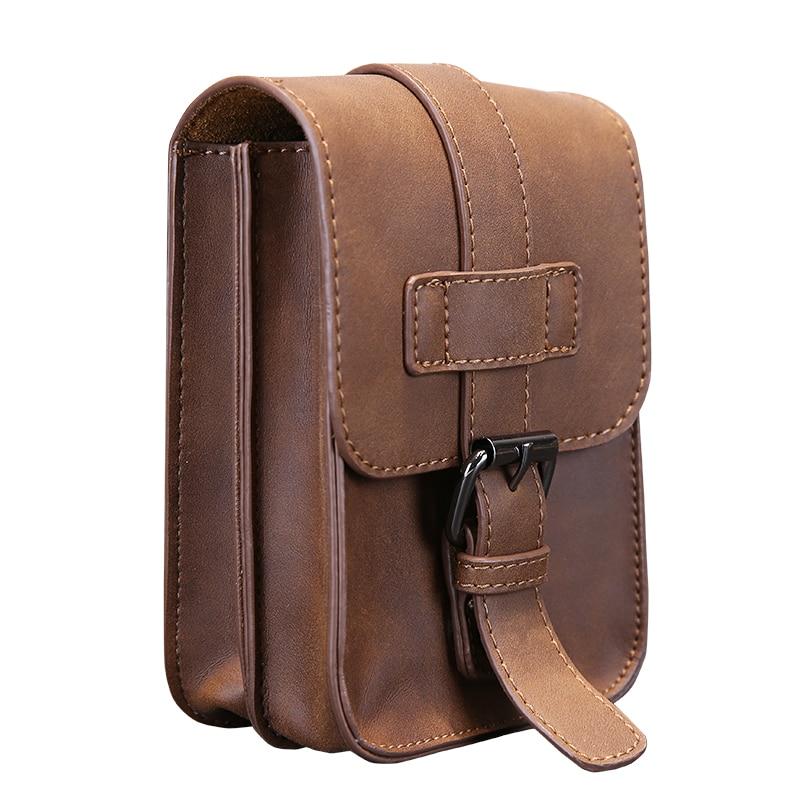 Vintage Crazy Horse PU Leather Mens Waist Bag Travel Fanny Pack Belt Loops Hip Bum Bag Wallet Purses Phone Pouch studded decorated pu bum bag