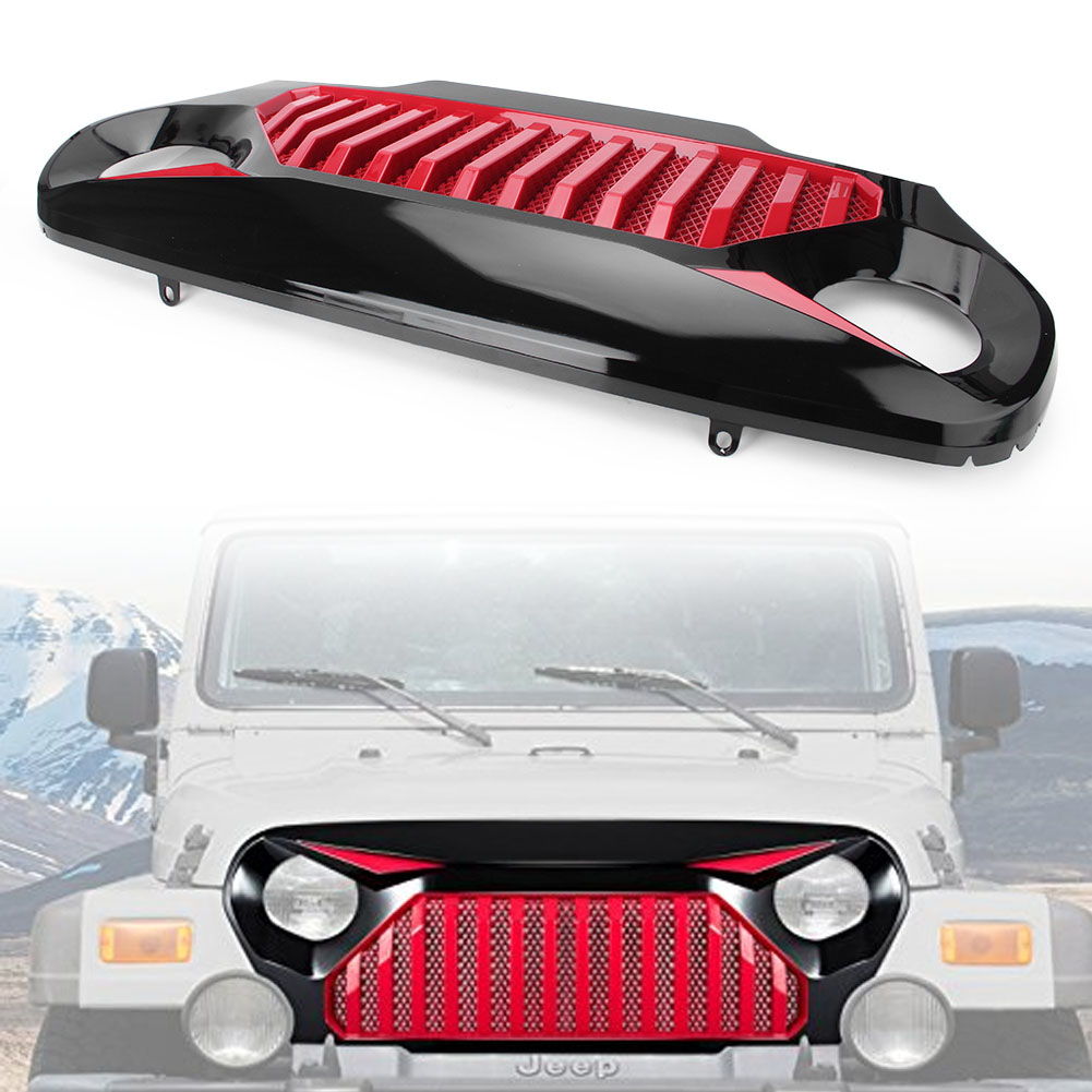 Auto Car Front Gladiator Grill Grille with Mesh For Jeep Wrangler TJ 1997 1998 1999 2000 2001 2002 2003 2004 2005 2006 free shipping waterproof fiber leather car floor mat rug for lexus lx470 j100 1998 1999 2000 2001 2002 2003 2004 2005 2006 2007