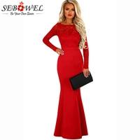 SEBOWEL Sexy Red Black Lace Backless Formal Long Dress Women Autumn Winter Long Sleeve Bow Back