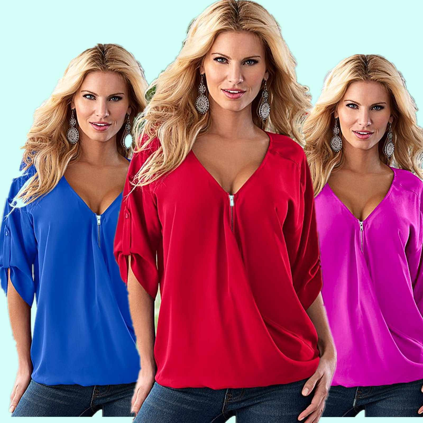"Bluzka damska new fashion 2020 zipper lato luźna koszula z rękawem ""dzika moda"" blusa feminina Vestidos EFF6122"