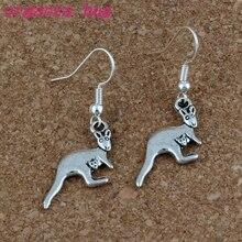 kangaroo Earrings Silver Fish Ear Hook 24pairs/lot Antique Chandelier Jewelry 12x43mm A-228e