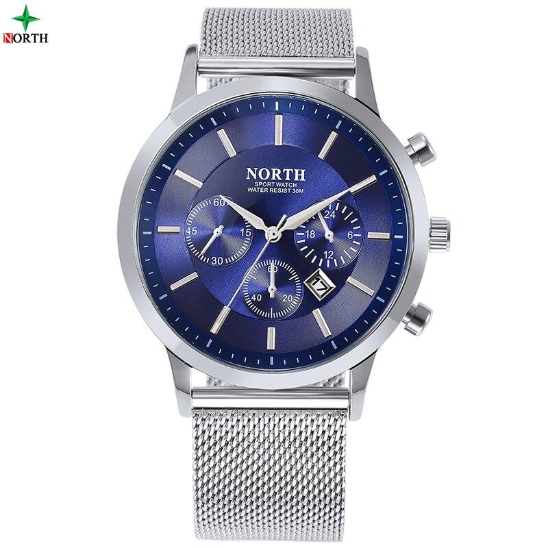 Men Watches 30M Waterproof Round Analog Quartz Male Business Wristwatches NORTH Fashion Casual Stainless Steel Mesh Watch Men
