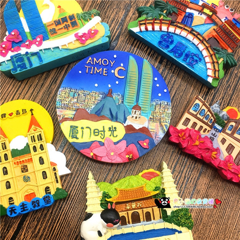 New Arrival China Xiamen Amoy Time Fridge Magnet 3D Fridge Magnet Travel Souvenir Refrigerator Magnetic Stickers
