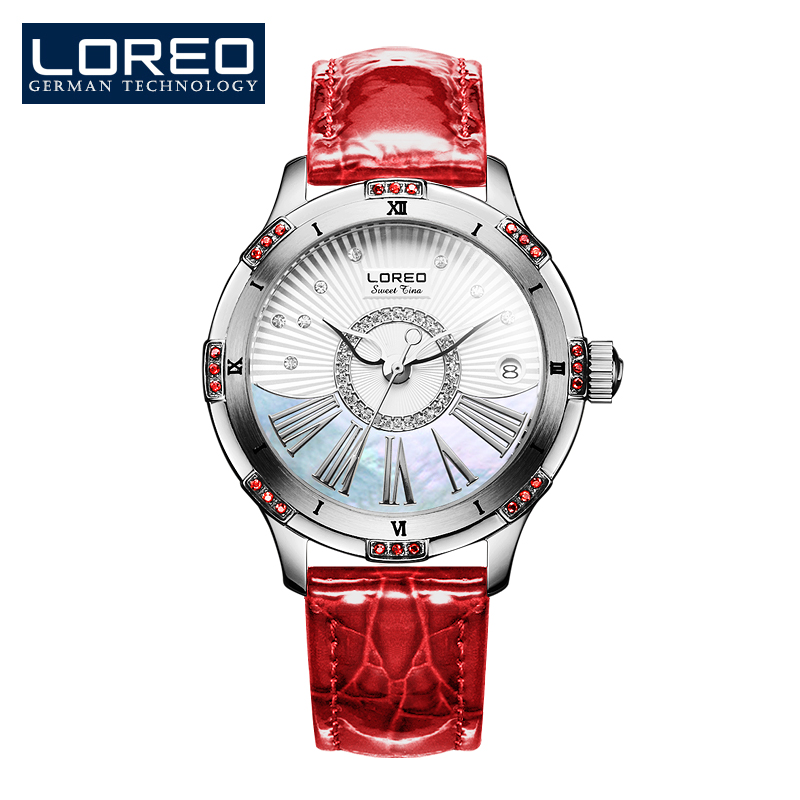 LOREO high quality business mechanical corrosion resistant automatic mechanical Pearl dial inlay diamond sapphire elegant watch loreo luxury brand austria diamond automatic mechanical pearl dial inlay diamond sapphire calendar water resistant lady watch