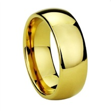 Wholeslae Hot Sale in Brazil US Canada 8MM Solid Men's Gold Plate Tungsten Wedding Ring For Lovers Couples Fashion Jewelry