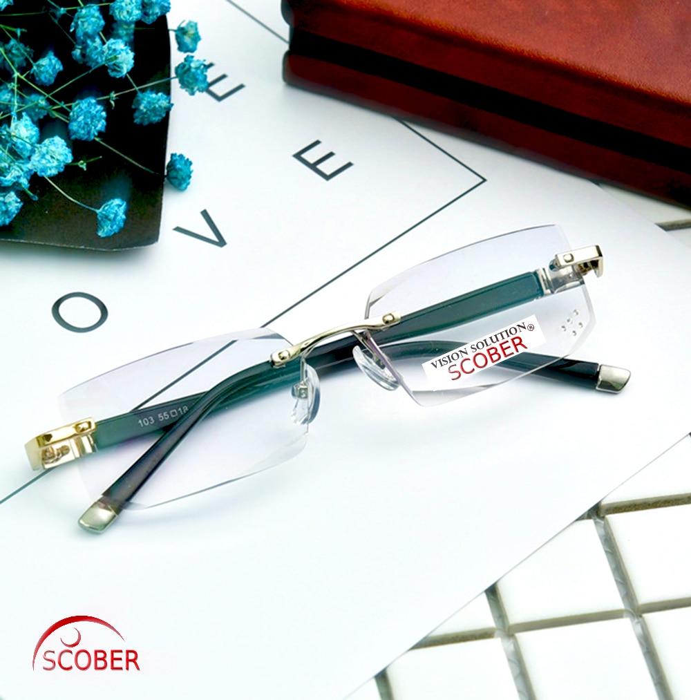 = SCOBER = Prilagođeni luksuzni obruč bez ruba muškarci žene koje čitaju naočale sive leće Naočare protiv umora od zračenja +1 do +4