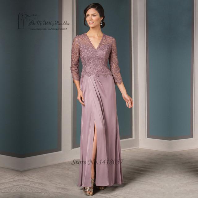 Rosa velho Plus Size Mãe dos Vestidos de Noiva 2017 de Renda longo Decote Em V Vestido de Noite Formal Do Partido Vestidos Dividir Side Madrinha