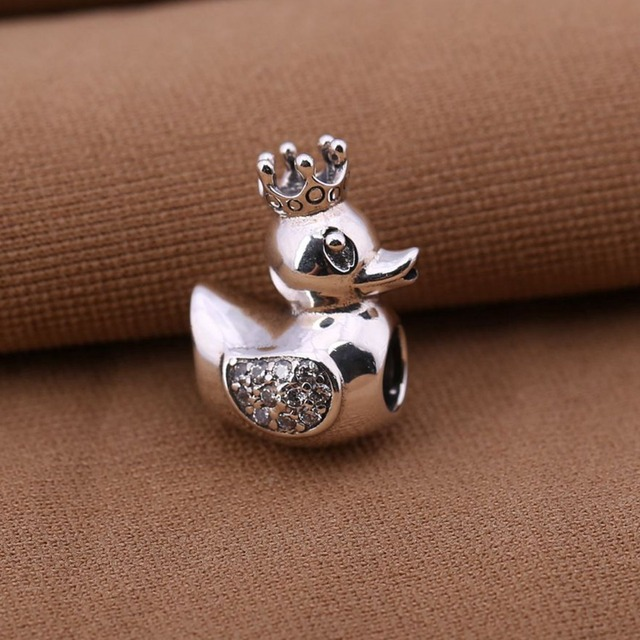 Authentic 925 Sterling Silver Beads Animal Duck Charm With Crown Gold Original Fits Pandora Charms For