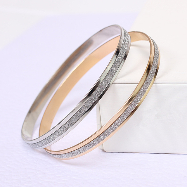 2019 new fashion Single double ring rose gold and silver two-color matte female ladies bracelet Wholesale jewelry Single