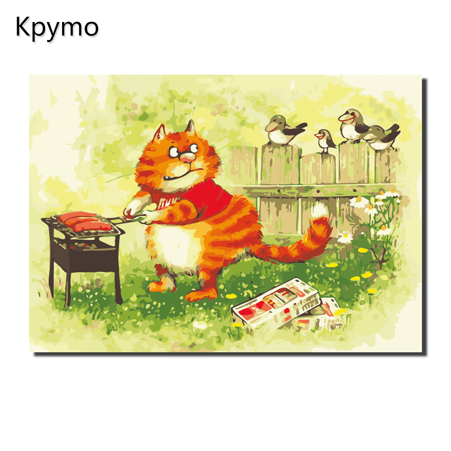 Kpymo yellow cat rameless Painting Pictures By Numbers On Canvas ...
