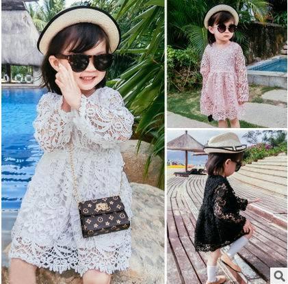 2017 primavera new baby girl sweet dress lace hollow cq8702 1-5y princesa dress niños ropa de manga larga