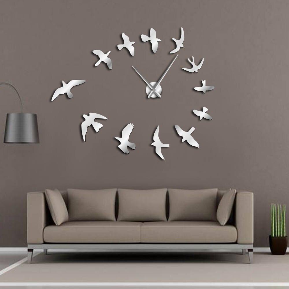 3D Fly Birds Mirror Large Wall Clock Sticker Animal Frameless DIY Giant Time Clock Huge Modern Design Clock Watch Decor