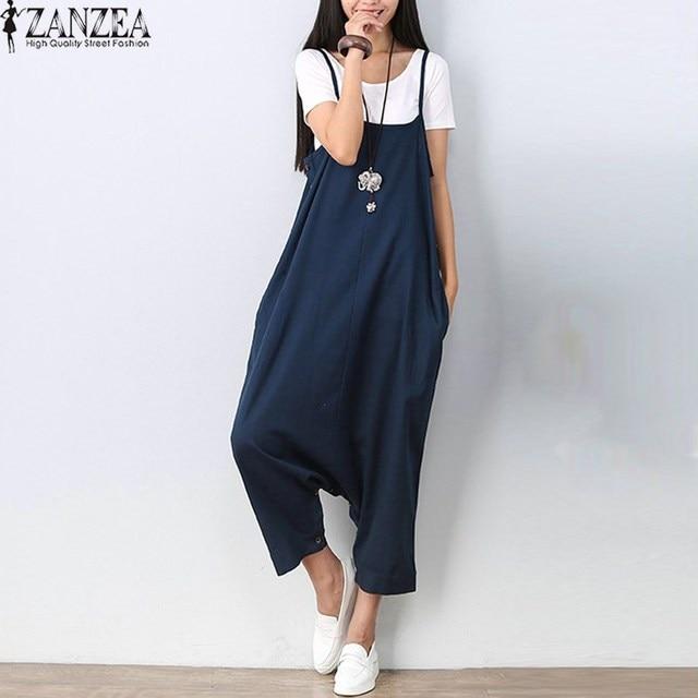 f1aad0dc554 ZANZEA 2018 Women Spaghetti Strap Harem Trousers Cargo Pants Plus Size  Romper Playsuit Jumpsuit Dungaree Overalls Coveralls