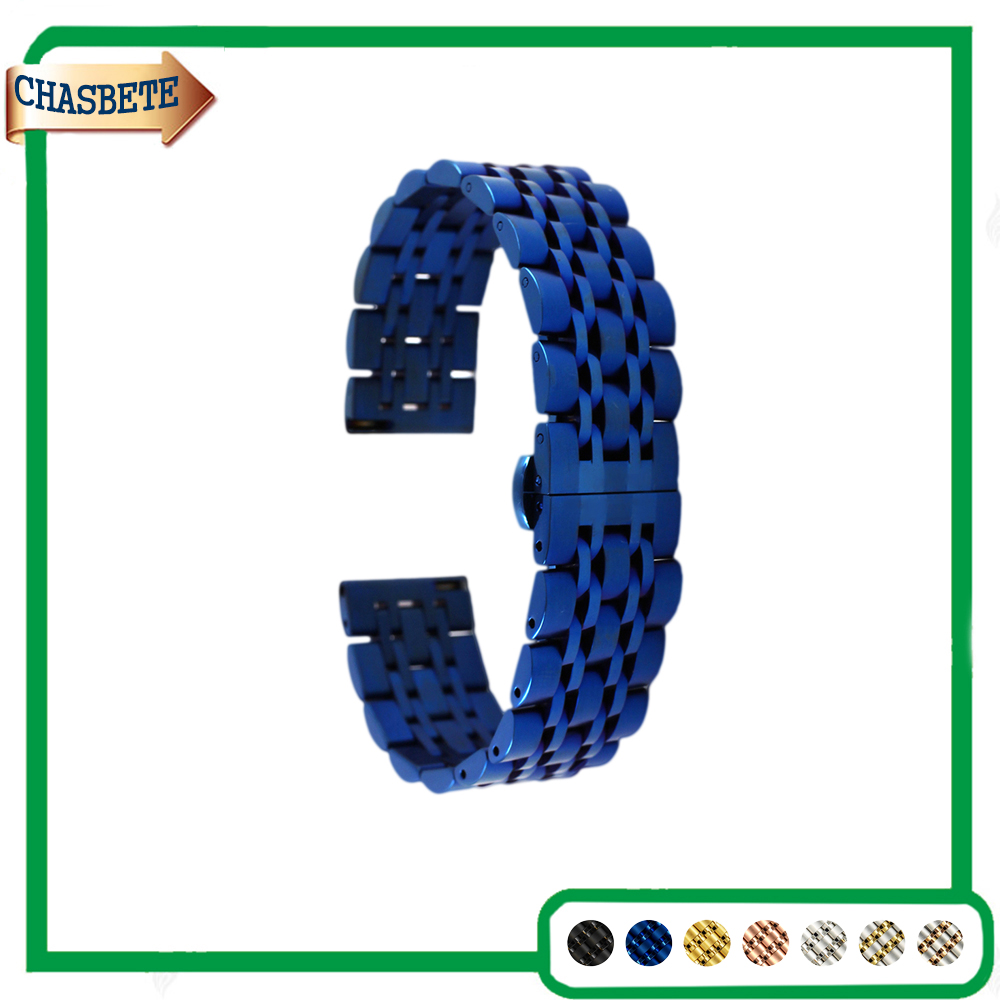 Stainless Steel Watch Band Universal Watchband 20mm 22mm Metal Strap Belt Wrist Loop Bracelet Black Silver Blue Rose Gold + Tool stylish 8 led blue light digit stainless steel bracelet wrist watch black 1 cr2016