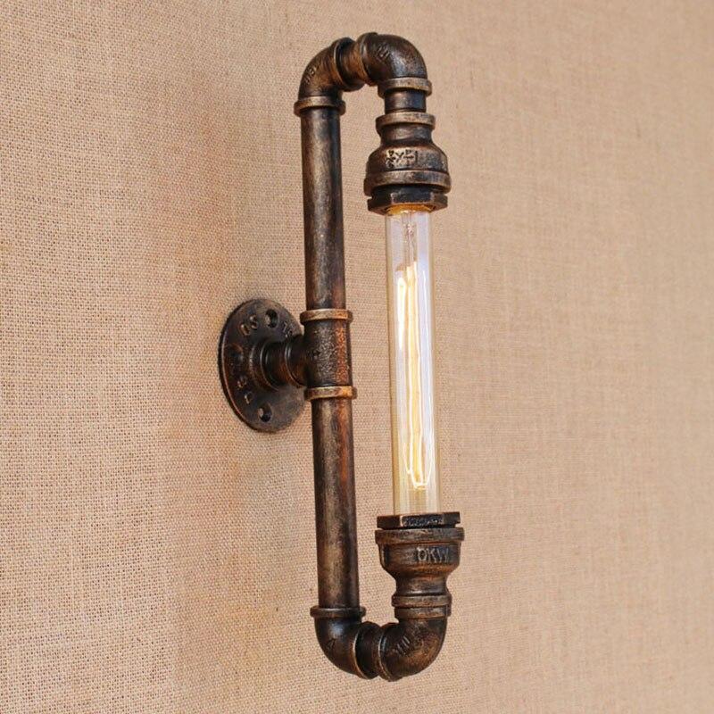Новый дизайн в стиле ретро, черный металл, винтаж, настенные светильники на водопроводной трубе со светодиодами / edison e27 для лофта, прикроватные спальни