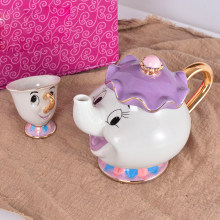 Nieuwe collectie Cartoon thee set 1 Pot + 1 Cup, schets in goud Thee Set Olifant Theepot Cup Suikerpot Pot Set Koffie Waterkoker(China)