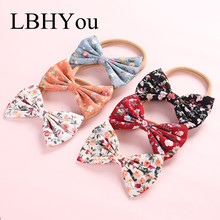 6pcs/lot Newborn Girls Cute Floral Print Cotton Bows Nylon Headbands Hand Tie Stretchy Head Bands Hair Accessories
