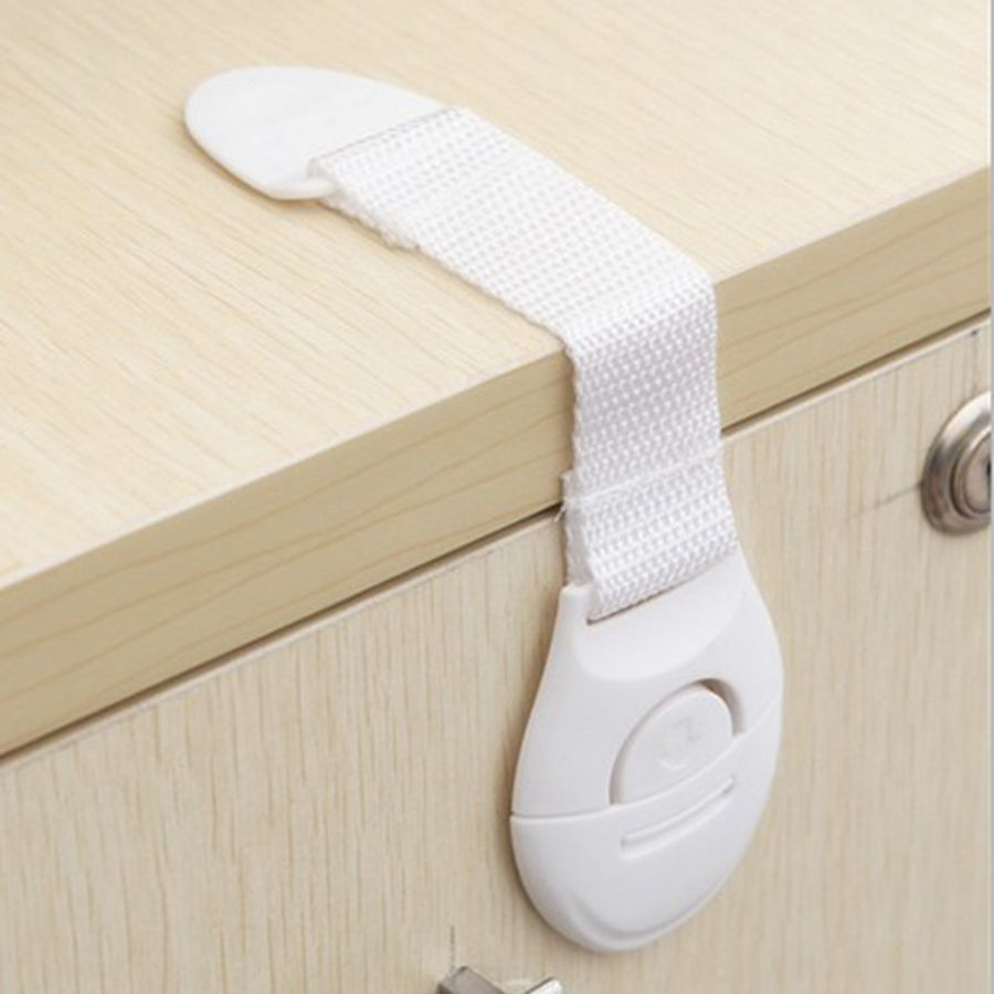 5Pcs Safety Plastic Children Protection Lock Cabinet Door Drawers Refrigerator Toilet Blockers Kids Baby Care Safety Lock Strap