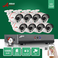 ANRAN 8CH Hybrid HD AHD DVR 1800TVL 720P Waterproof Outdoor 24 IR Day Night Home CCTV