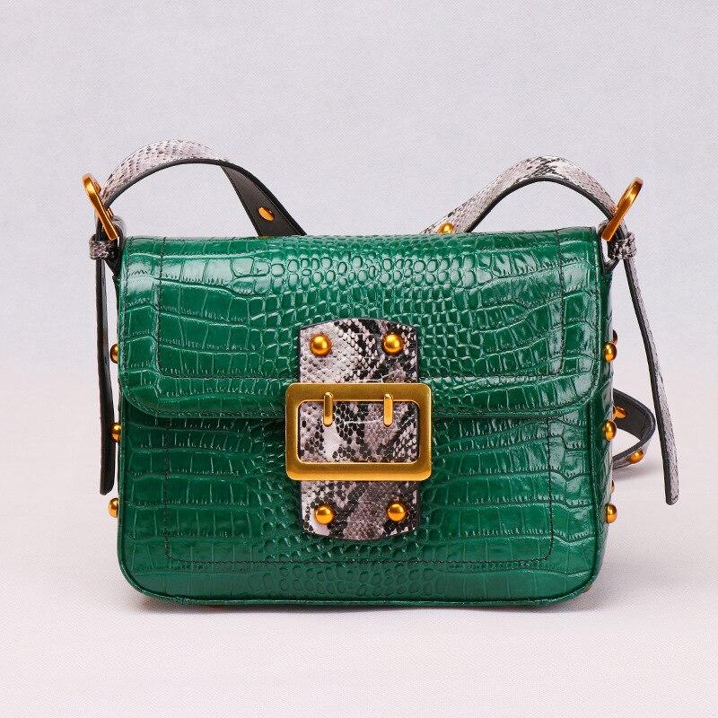 Bags ForWomen 2018 Fashion Serpentine Handbags Genuine Leather Flap Green Ladies Crossbody Messenger Hand Bag