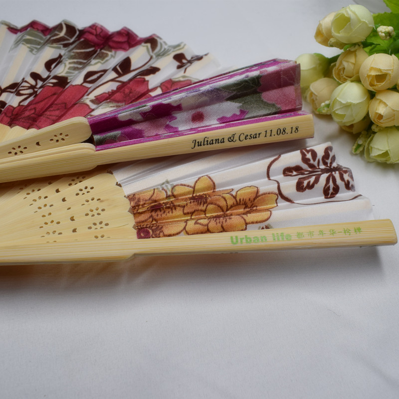 80pcs Personalized Chinese Flower Hand Fan Customized Name DateWedding Favor Cloth Fan Cherry Blossoms Folding Hand